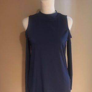New Navy blue Cold shoulder top.